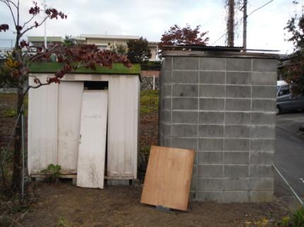 タンク、ブロック塀、倉庫の撤去