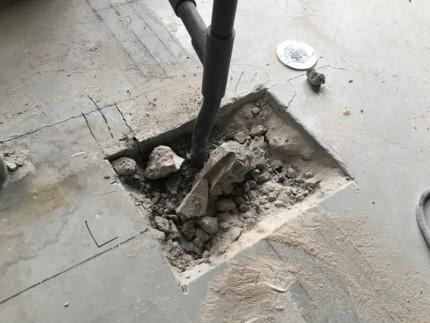 土間コンクリートはつり|水道まわり