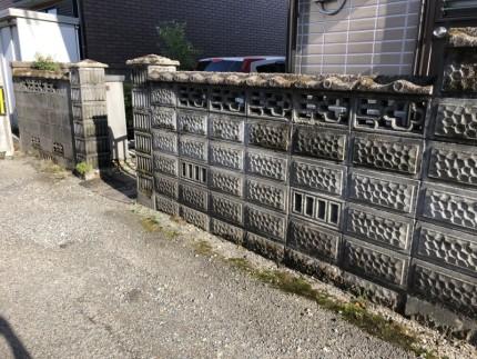 岐阜市のブロック塀撤去工事【撤去前】