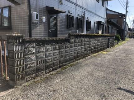 全体:岐阜市のブロック塀撤去工事【撤去前】
