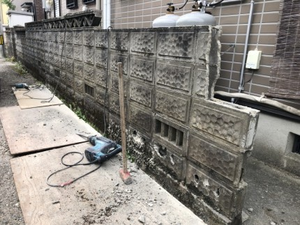 続いてこちらの面|岐阜市のブロック塀撤去工事