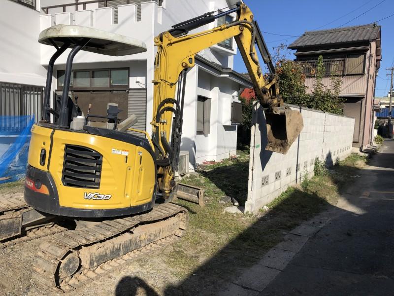 いよいよ着工です|名古屋市中村区のブロック塀の解体工事