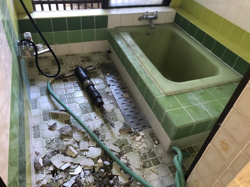 お風呂の解体はつり着工
