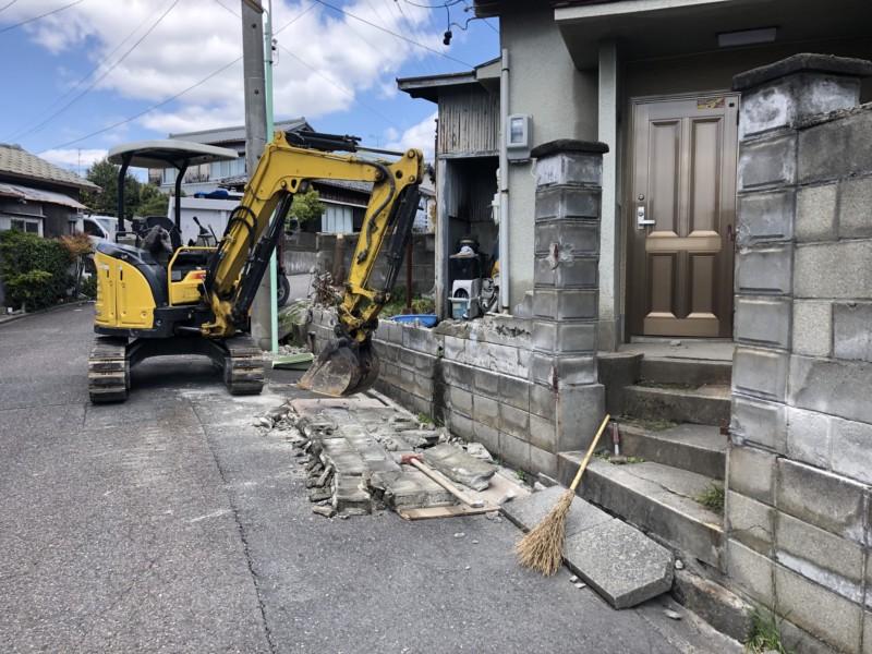 名古屋市昭和区のブロック塀の解体工事