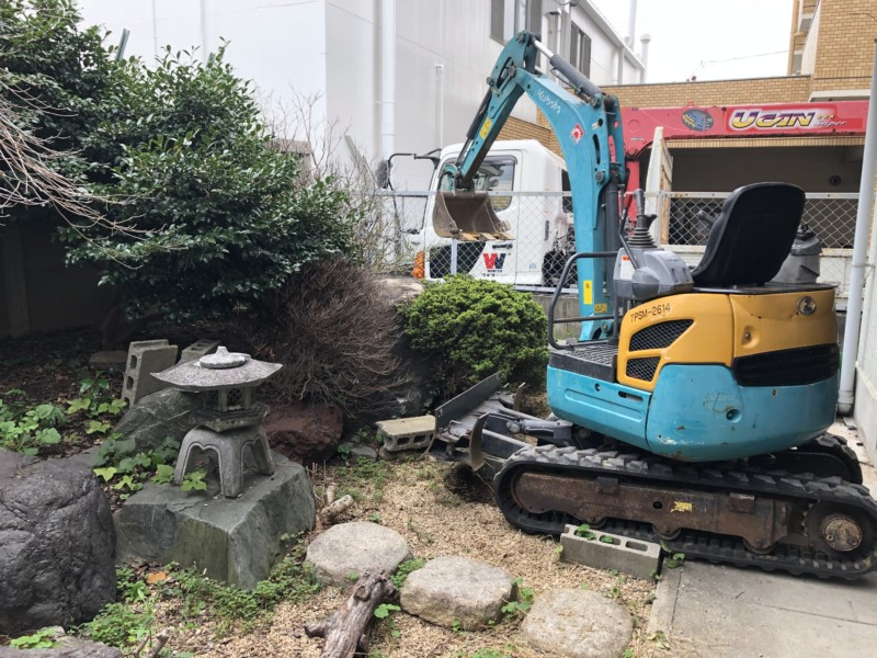 名古屋市中川区の庭石の撤去
