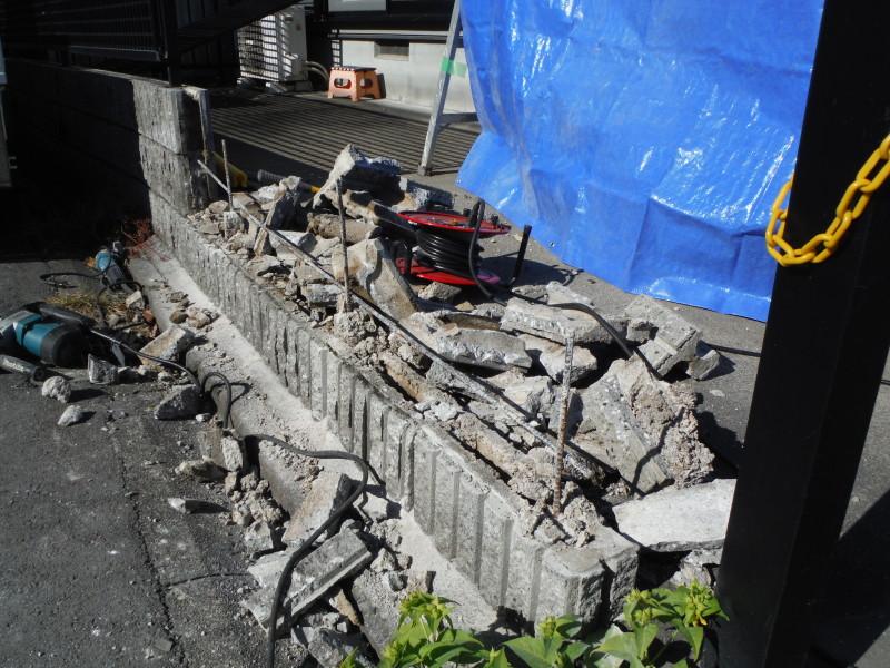 名古屋市中川区のブロック塀の解体工事