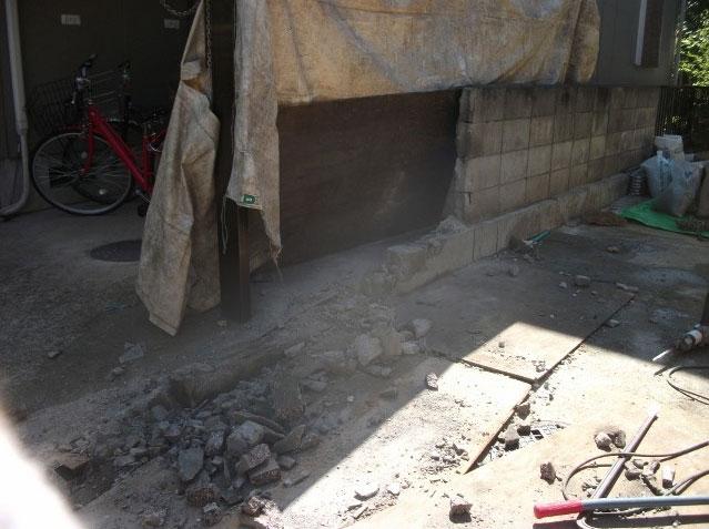 小牧市ブロック塀の解体工事
