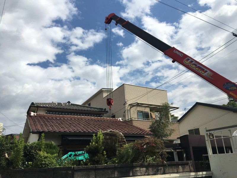 クレーン作業 庭石の撤去処分 名古屋市南区