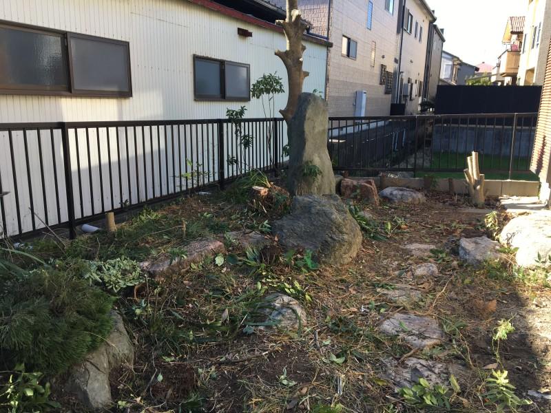 あま市|庭石の撤去|伐採