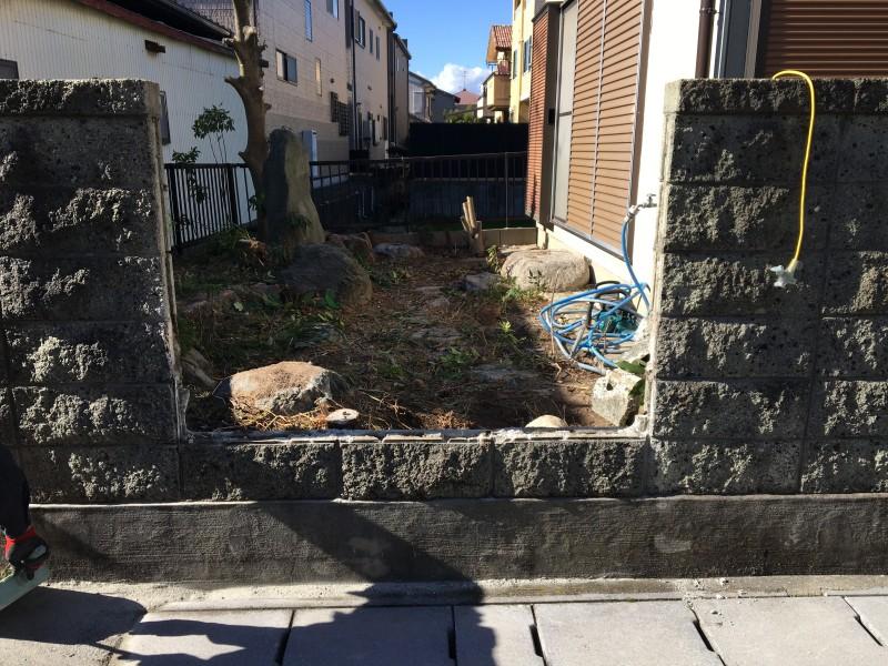 あま市|庭石の撤去|ブロック塀の開口