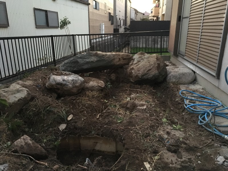 あま市|庭石の撤去