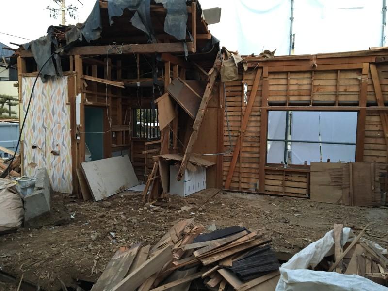 木造2階部分が解体できました