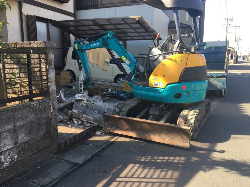 北名古屋市|ブロック塀の撤去|重機解体
