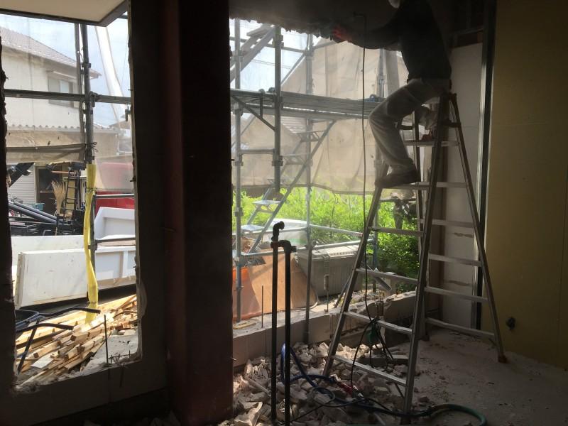 外壁ALCはつり工事|仕上げ作業