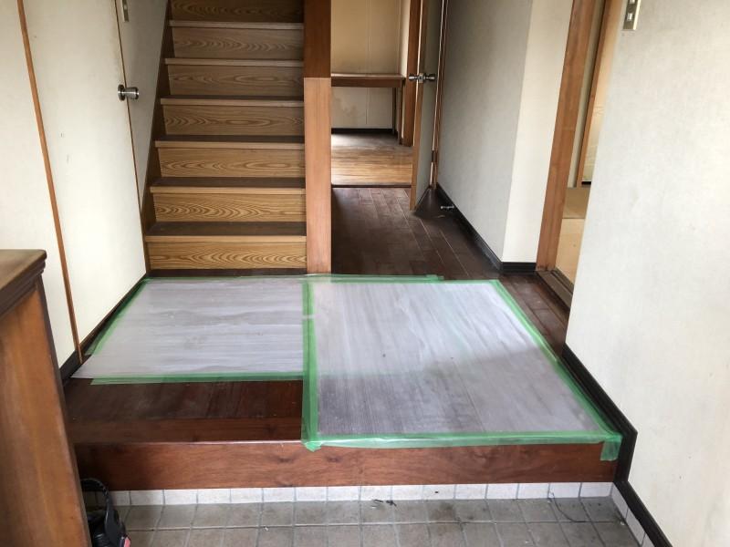 お風呂の解体 床の養生 愛知県犬山市
