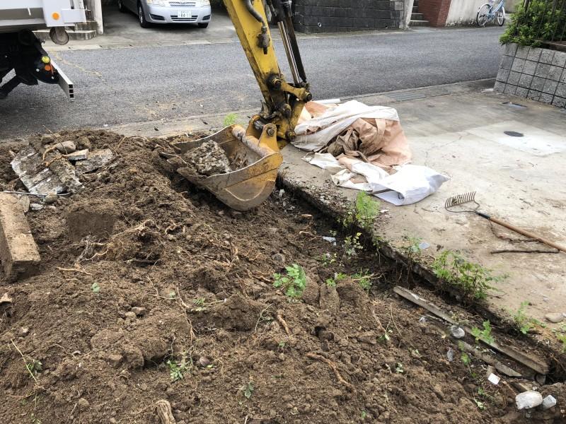 岐阜県可児市|庭の解体|駐車場の拡張|コンクリート撤去