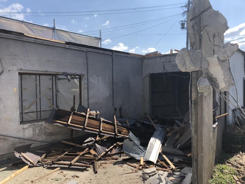 刈谷市|倉庫の解体工事|屋根解体