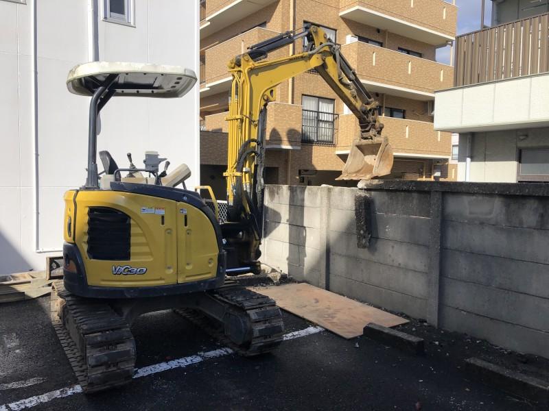 名古屋市昭和区|コンクリート塀の解体工事が着工