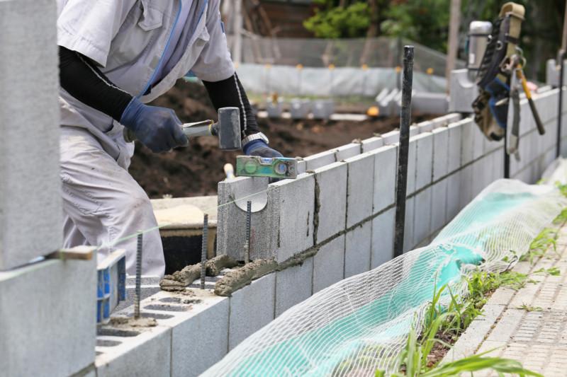 ブロック工事の現場【積み上げ】