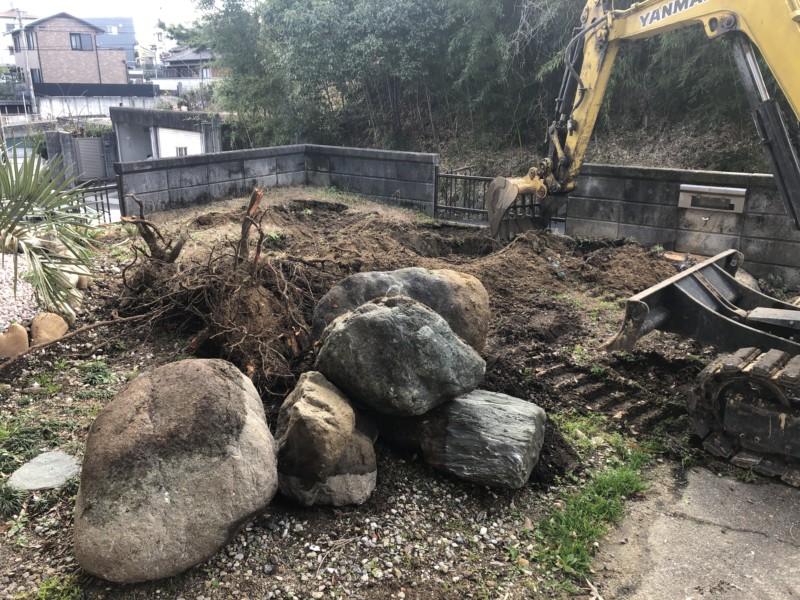 愛知県瀬戸市お庭の解体/リフォーム【庭石×ブロック】