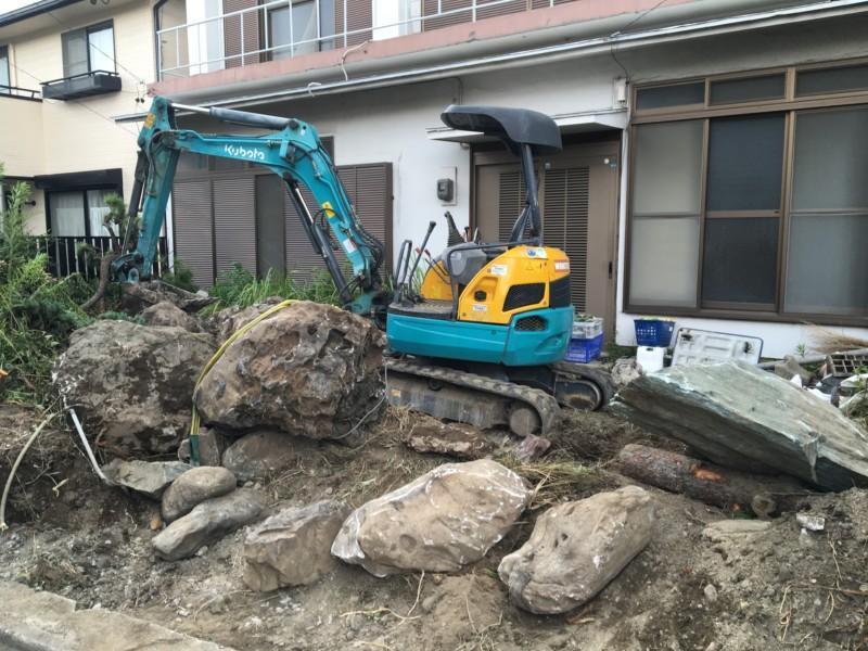 名古屋市北区お庭の解体【庭石、ブロック、残土】