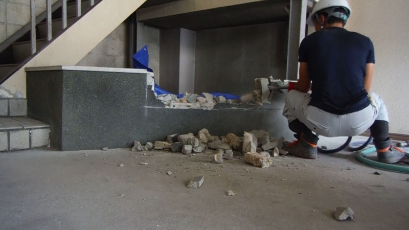 名古屋市中村区の駐車場のブロック塀はつり解体工事【7万円】