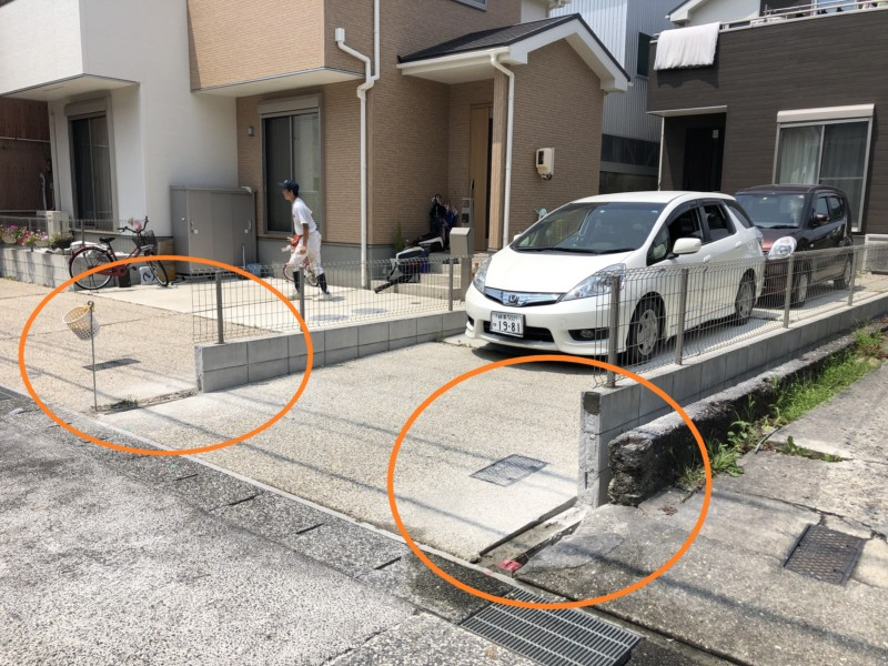 ブロックとフェンスが邪魔で、駐車場の出し入れがしにくい