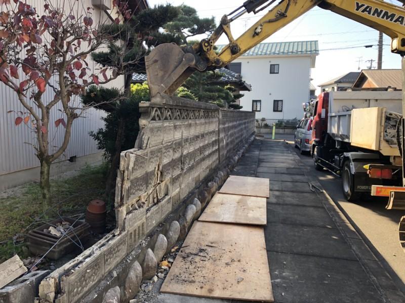 愛知県春日井市のブロック塀の解体撤去