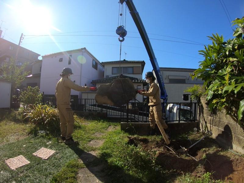 愛知県春日井市の庭石の撤去処分